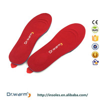 Dr.warm rechargeable electric anatomical insoles for shoes,lithium battery heating thermos heating insoles poron insole