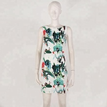 Summer Floral Print chinese Style Dress Sleeveless O Neck Knee- Length Party Bodycon Pencil Women Dress