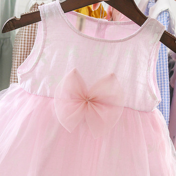 2019 Summer sleeveless cotton gauze princess dress with cute bow knot at front for 0-3 years old baby girl