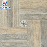 3D inkjet technology glazed rustic matte finish wood design 400x400 non slip ceramic floor tile
