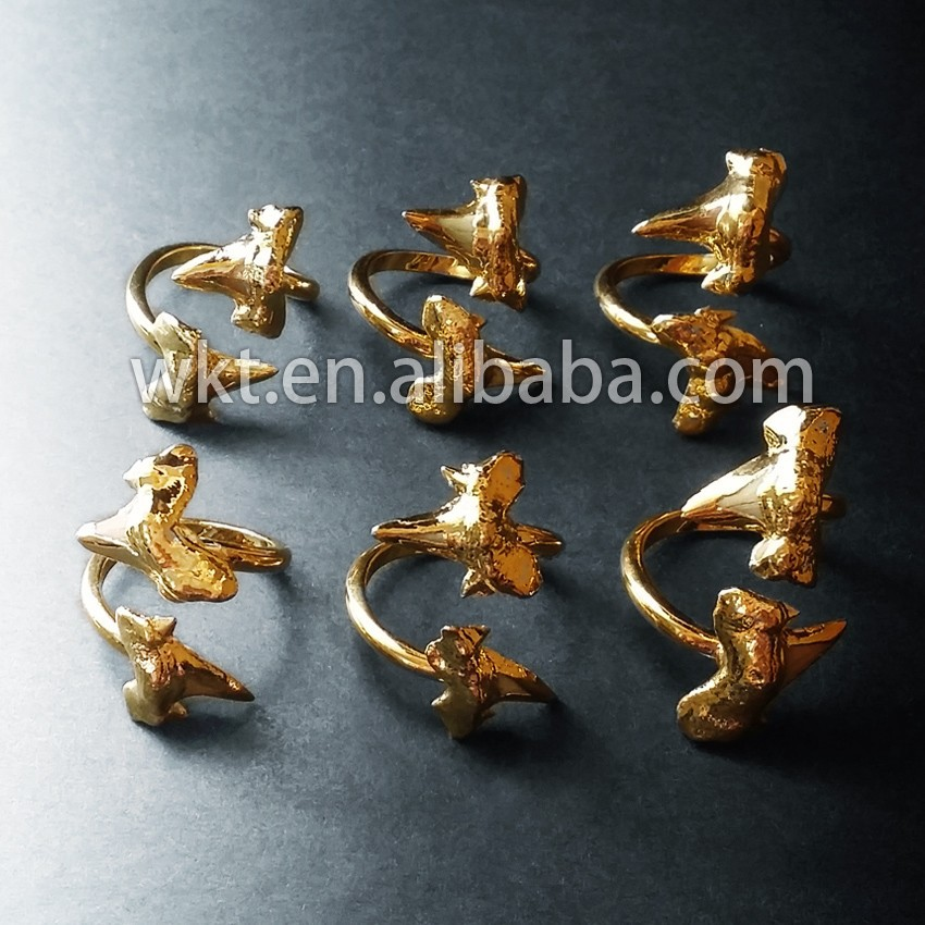 New! Amazing real shark tooth ring with 24k best gold plated WT-R104