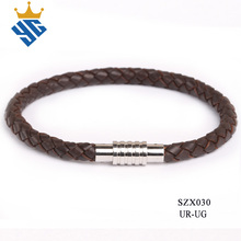 Ally express wholesale braided brown leather bracelet with metal