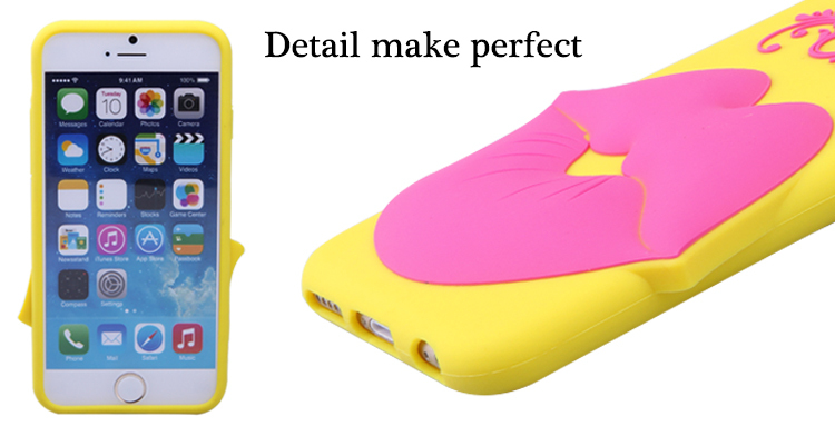 fashion love lip shape silicone mobile phone case for iphone 6 6s plus