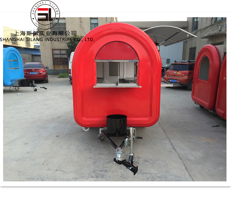 SL-6 red food trailer multifunction Mobile Food Truck For Ice Creams, Beverages