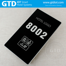 CNC produce 433 wireless Luxury Hotel Electronic touch doorplate with 2 in 1 indoor panels