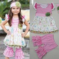 Wholesale princess icecream pink stripe baby ruffle girls bulk wholesale clothing