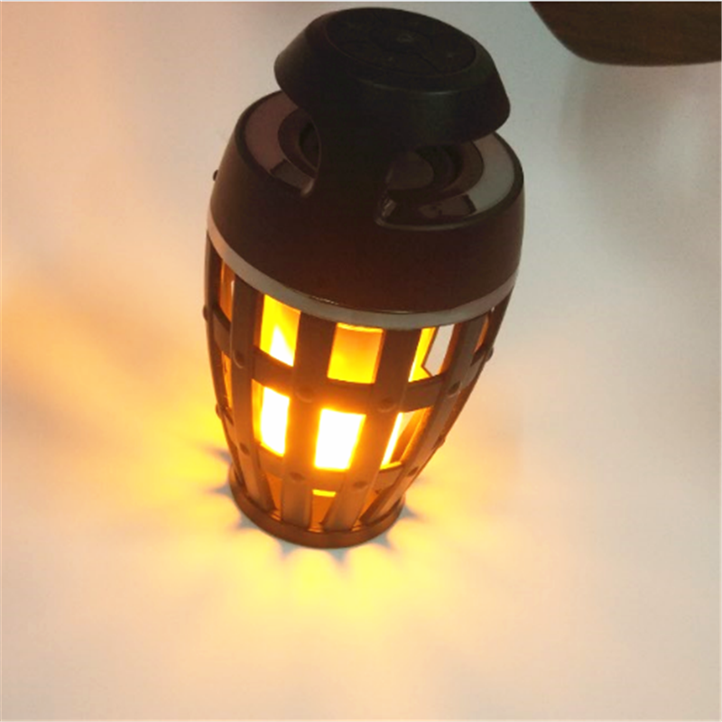 New Arrival Portable Outdoor Waterproof Wireless LED Flame Lamp Bluetooth <strong>Speaker</strong> For Amazon