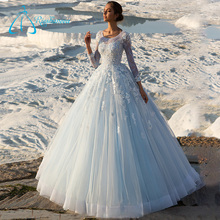 Tulle Satin Ball Gowns Long Sleeve Simple Wedding Dresses