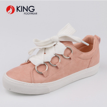 Brand new design Pink Lace-up casual women's shoes white shoes.
