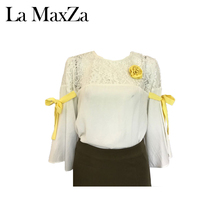 Fashion Simple Design Like Linen Patchwork Long Sleeve Lady Lace Blouse