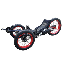 High Capacity Laid-Back Seat Reversible Three Wheel Street Electric Recumbent Trike, Fat Snow Tire Recumbent Tricycle