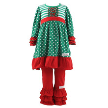 Wholesale Christmas girls sets long sleeve ruffle dresses children clothes kids