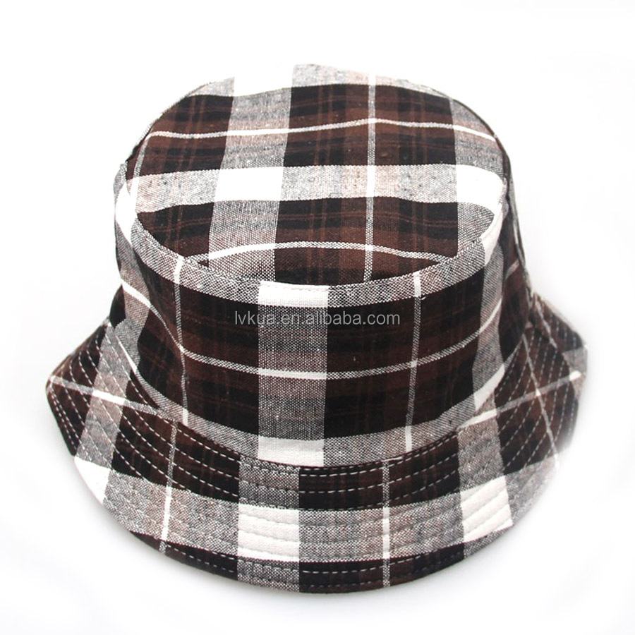 2016 Hot Sell Children Plaid Bucket Hats for Travel Climbing