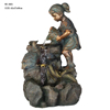 boy and girl statue water ornament for garden decoration