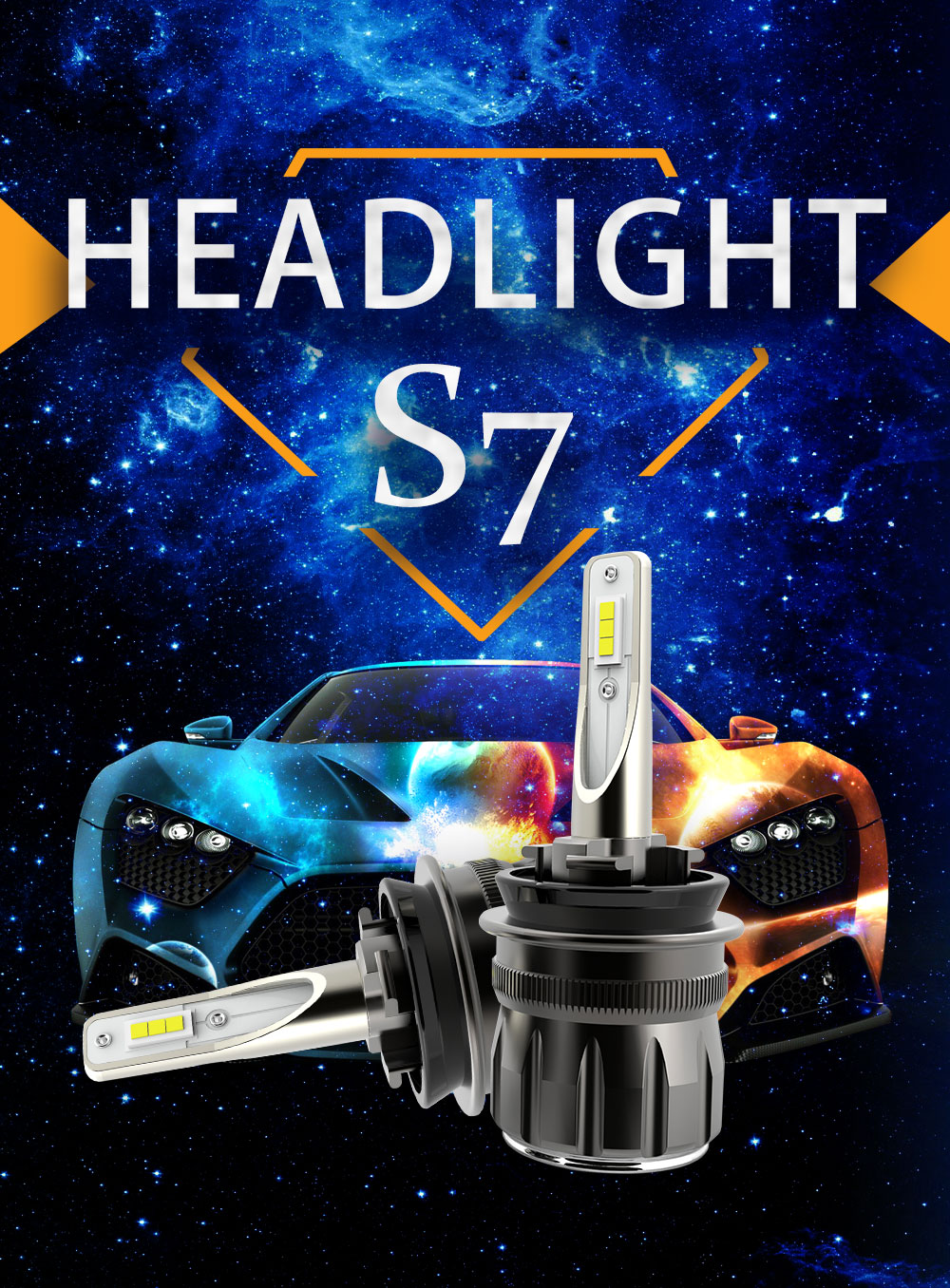 2019 Smallest 360 degree adjustable 80W 9600LM Play and plug h4 led headlight S7