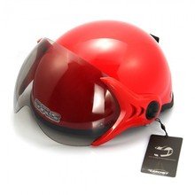Motorcycle Helmet Red Half Open Face Single Visor Adjustable Size