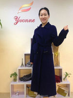 high quality nave blue doule-faced fabric cashmere overcoat