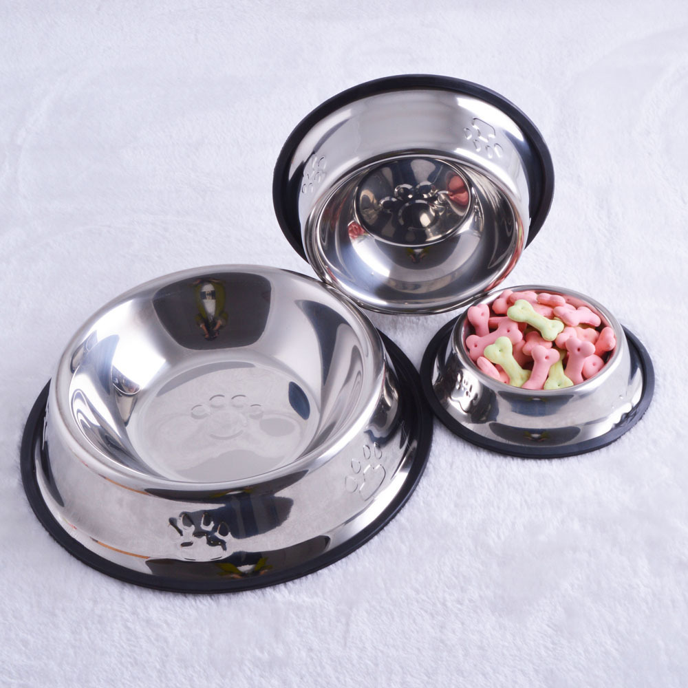 wholesale cheap stainless steel pet dog food bowls with silicone ring
