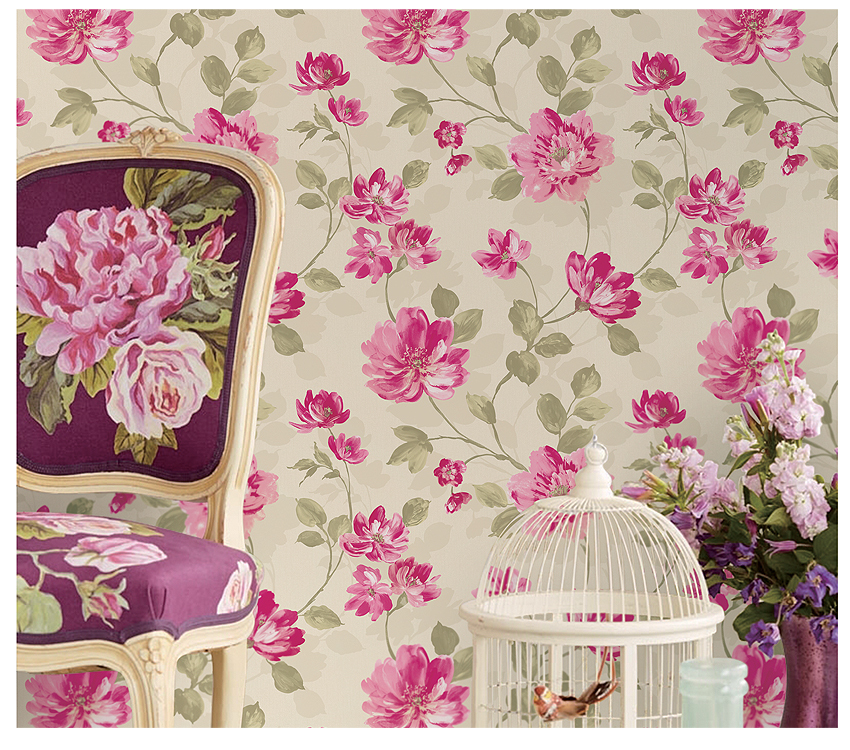 Elegant Flowers Modern Style Non-woven Beautiful Wallpapers for Home