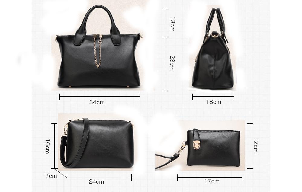 3 unids set vintage bolsos mujer messenger bolsos for Bolsos para oficina