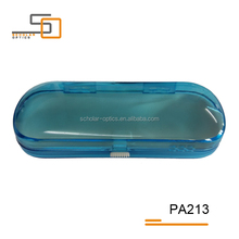 Transparent blue spring button PS lining plastic eyeglasses optical case
