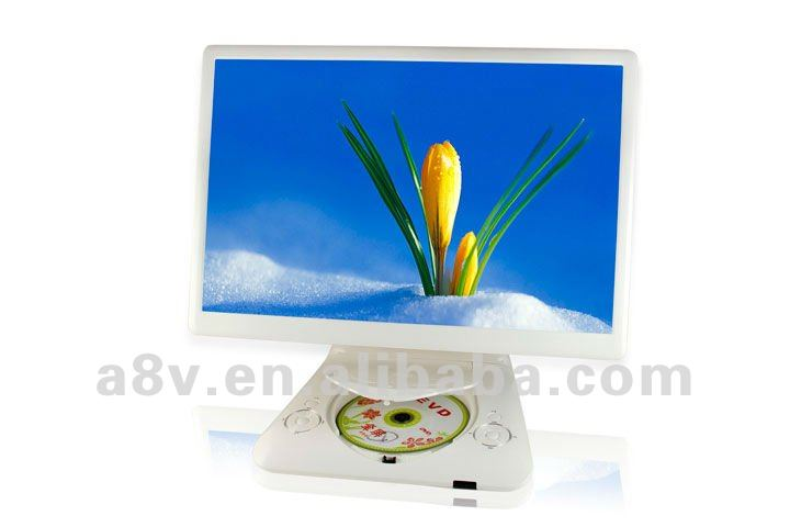 Super slim large screen portable LCD/LED TV with dvd player tv tuner support USB/SD Card reader