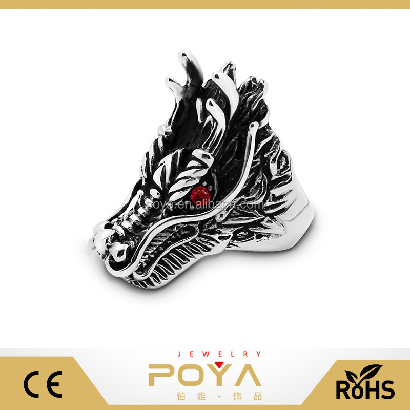 POYA Jewelry 12mm Single Men Forefinger Punk Ring Jewelry Wholesale Retro Ruby Cock Stainless Steel Ring