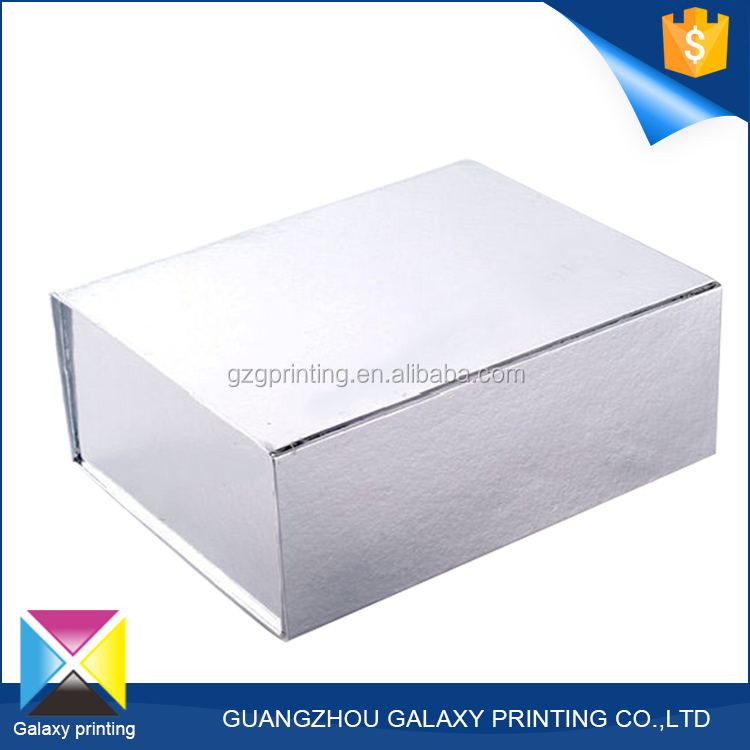 Fashion promotional custom printed silver cardboard folding storage foldable gift paper box