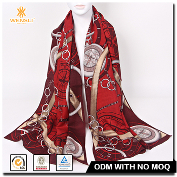 Screen Printed Custom Chain Pattern Mongolian Wool 100S Long Scarf