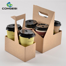 food disposable custom size logo printing 2 4 color paper coffee cups holders tray with handle