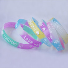 glowing in the dark silicone bracelet with ink filled sayings