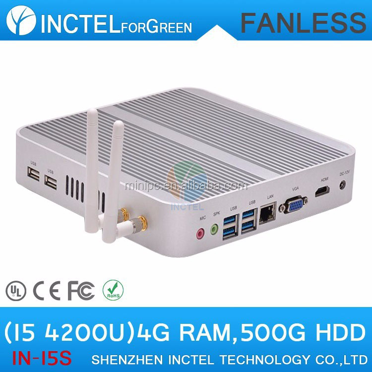 Fanless 4K server mini pc intel i5 with Intel Core i5 4200U 1.6Ghz CPU Haswell Architecture SOC 8G RAM 500G HDD Linux