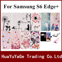 Free shipping phone cases coloured drawing PU Flip cover Emboss color print Flower case For Samsung Galaxy S6 Edge Plus