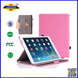 Carbon fiber Slim-Fit Multi-angle Folio Cover Case for iPad Air 2 (for iPad 6) 9.7 Inch iOS 8 Tablet