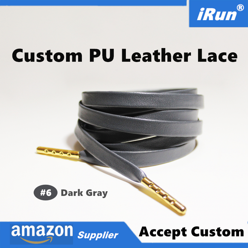 Luxury Flat Gray Leather Sneaker Shoelaces Metal Tips Faux Sheepskin Leather Grey Shoelace for Ultra Boost - 8 Colors