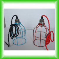 Metal cage shade vintage antique bulb hanging fixture/pendant light red/blue more colors