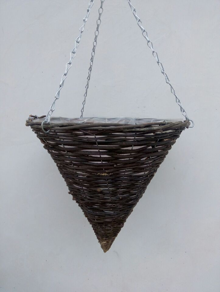 Handmade black rattan cone hanging planter basket with plastic lining and wire chain