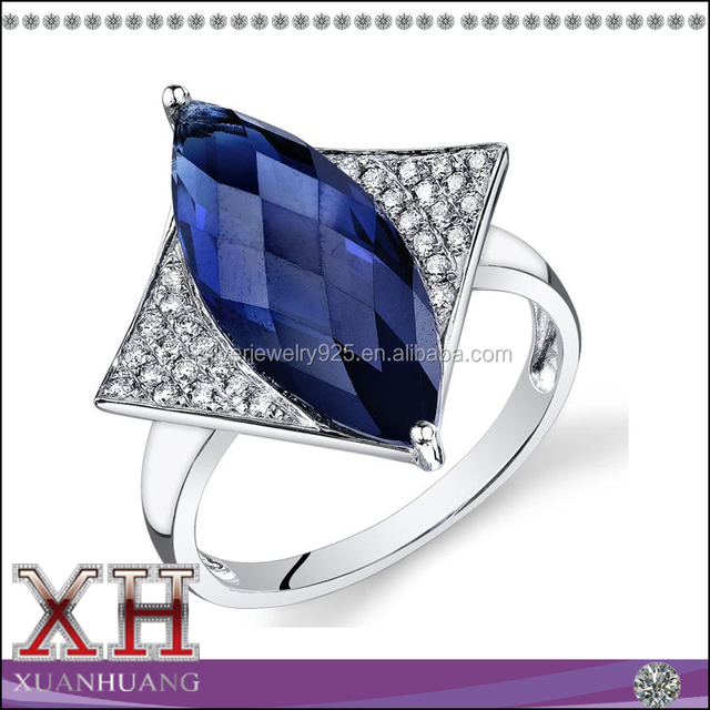 14K WHITE GOLD FASHION BLUE SAPPHIRE RING