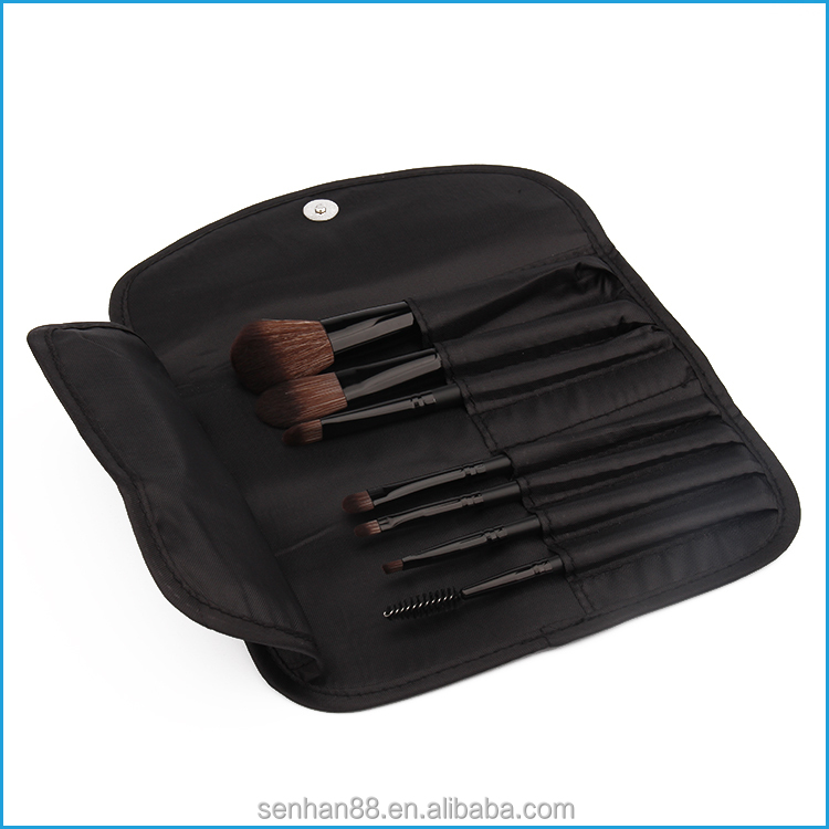 Fast delivery time black polyester cosmetic brush roll holder bag for makeup use