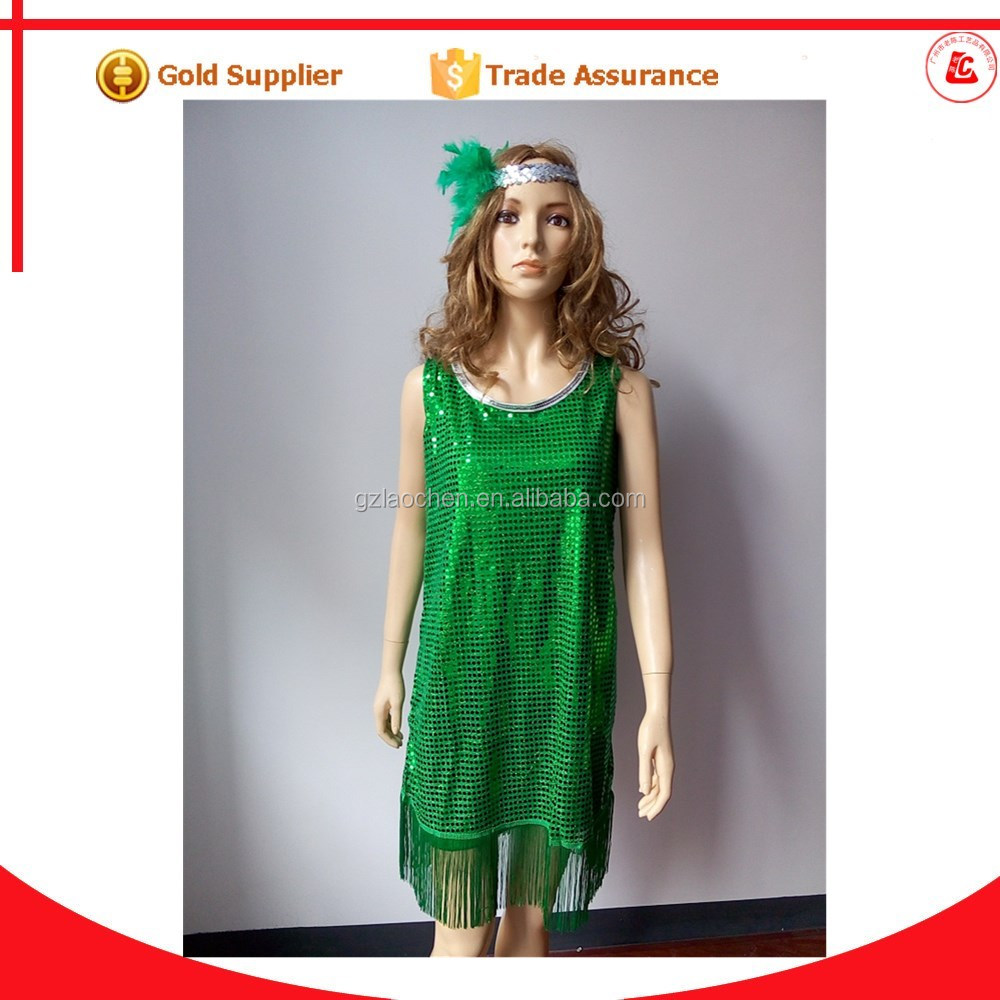 <strong>sexy</strong> 20's gold sequin green dress old fashioned costumes adult flapper dress costume