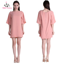 Cheap Mini Short Women Pink Slash Neck Loose Straight Dress Bulk Plain Ladies Casual Wear Summer T-shirt Tunic Short Peach Dress