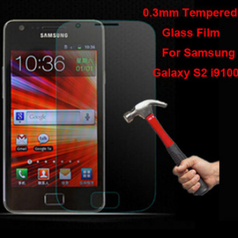 New Real Explosion-proof Premium Tempered Glass Film Touch Screen Guard Protectors for Samsung Galaxy S2 i9100 with Package