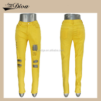 2016 wholesale manufacturers china overstock lot cheap price ripped yellow women jeans pants