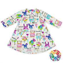 Adorable Long Sleeve Colorful Easter Bunny Bird Toddler Baby Girls Kids Party Dresses