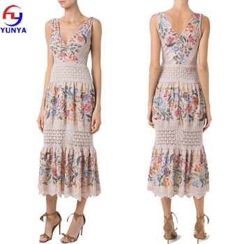 Hot selling sexy women deep v neck sleeveless custom floral printed knit long maxi dress