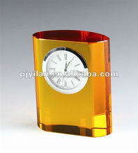 amber color fashion rectangle crystal clock table clock amber crystal clock