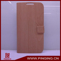 wooden line PU flip leather case for samsung galaxy S4