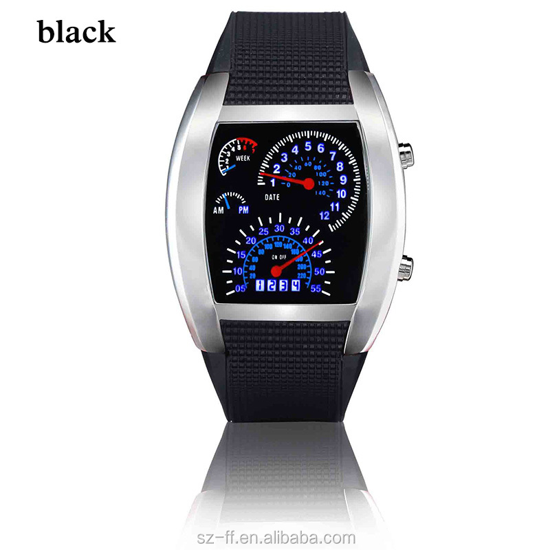 Wholesale Fashion Sports Flash LED Car Speedometer Meter Dial Men Watch