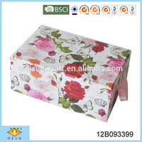 Double Layers Elegant Rose Decorative Jewelry Make up Box With Mirror