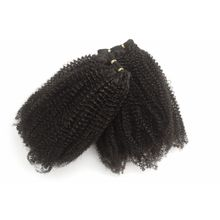 1mm Peruvian Human Hair Weaves Natural Color Afro Kinky Curly Human Hair Weft for Black Women